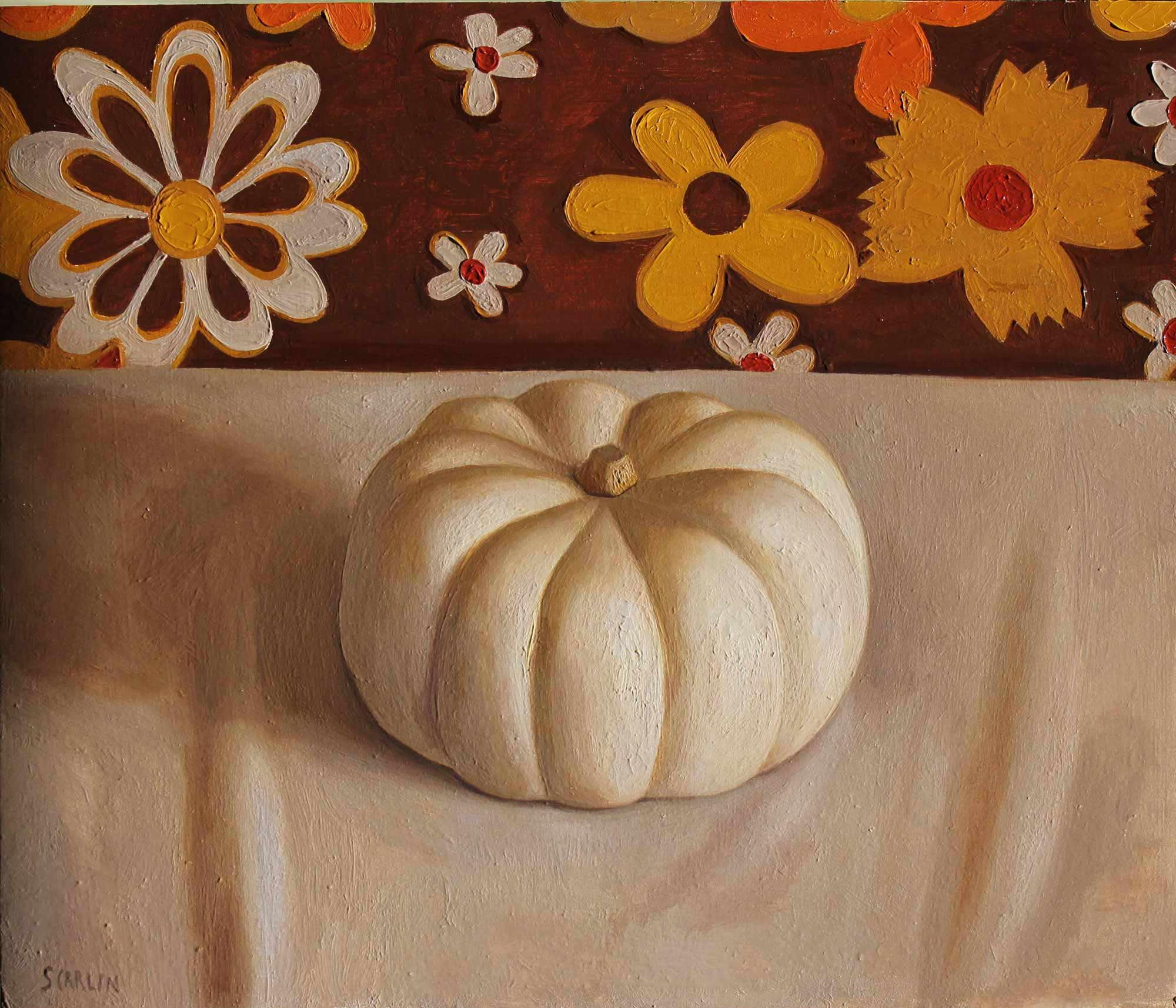 Pumpkin and Flowers    Oil on Panel  30 x 35cm R8 400
