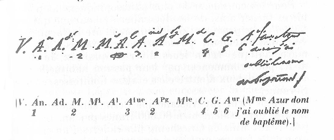 Liste des femmes aimées par Stendhal, telles qu'il l'a écrit dans le manuscrit de  Vie de Henry Brulard  en 1832.