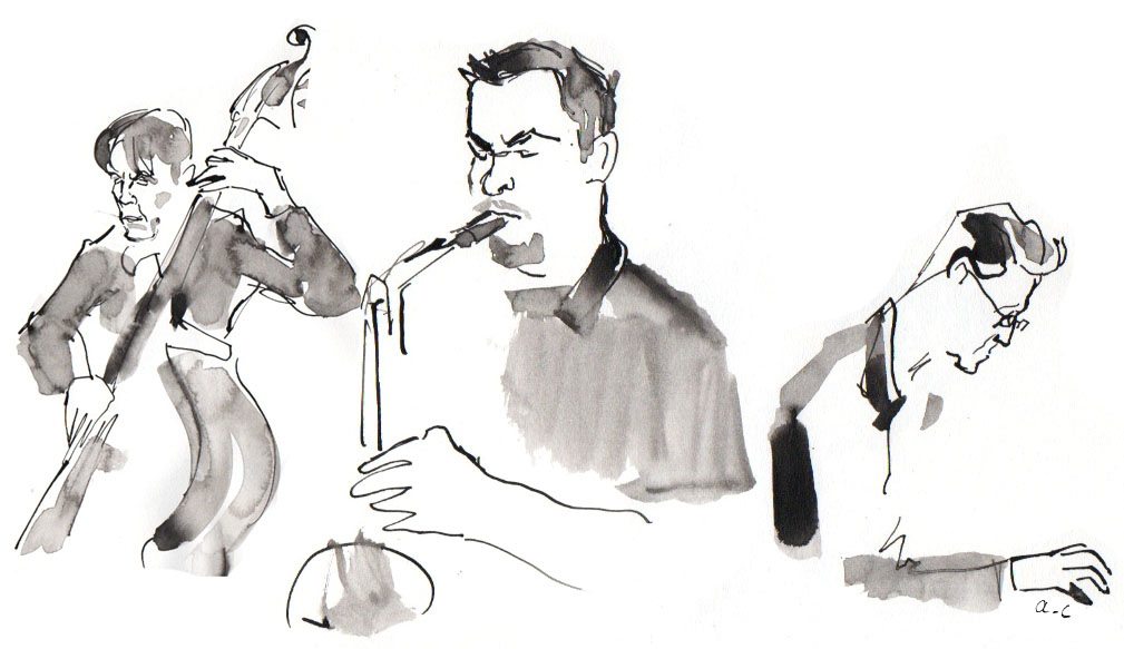 """Sympathique chronique parue sur le site de Jazz Magazine suite au concert d'Emil Spanyi et Jean Bardy au Baiser Salé, avec comme invité Baptiste Herbin, dans le cadre de leur projet """"Very Blue""""  ici   12 mars 2016"""