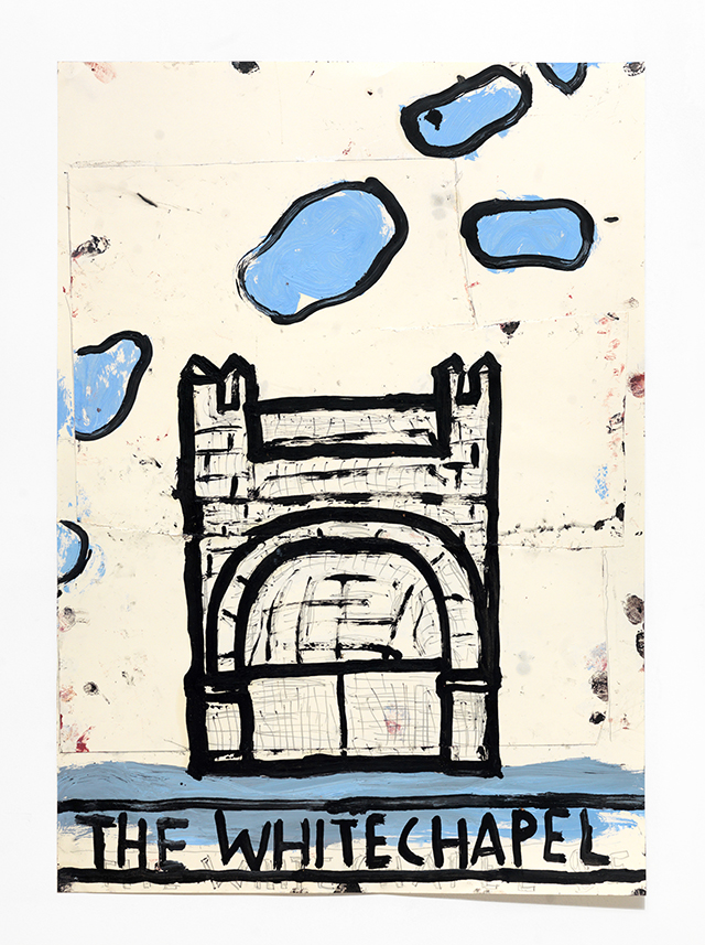 Whitechapel, Blue Clouds, 2017, Oil, Pencil, Pen and Collage on Paper, 84 x 60 cm Rose Wylie_LR.jpg