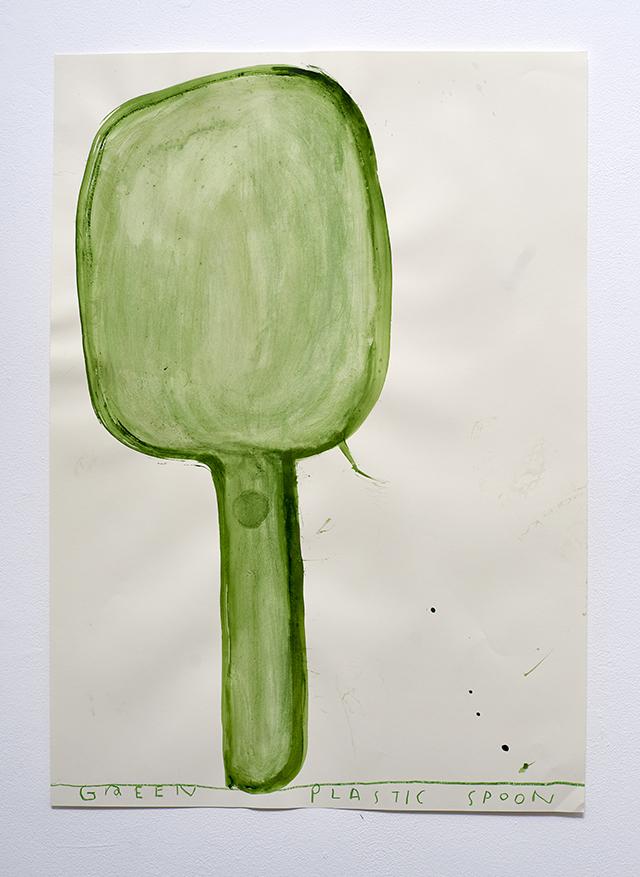 Transparent Plastic Green Spoon 2016 Watercolour on Paper 84 x 60 cm Rose Wylie_LR.jpg