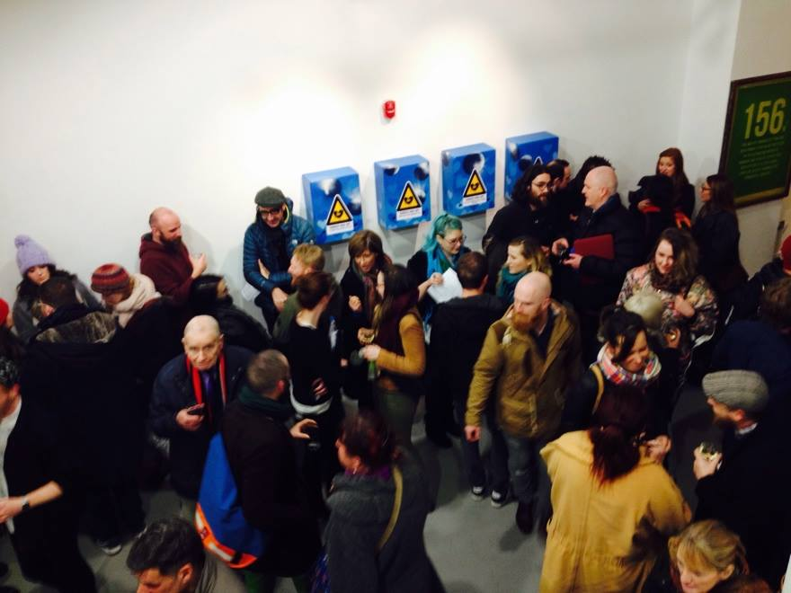 Proof I was there.  I'm behind the bald man with the red scarf and navy coat who is looking at the camera. Photo courtesy of Emer Casey, Limerick Printmakers.