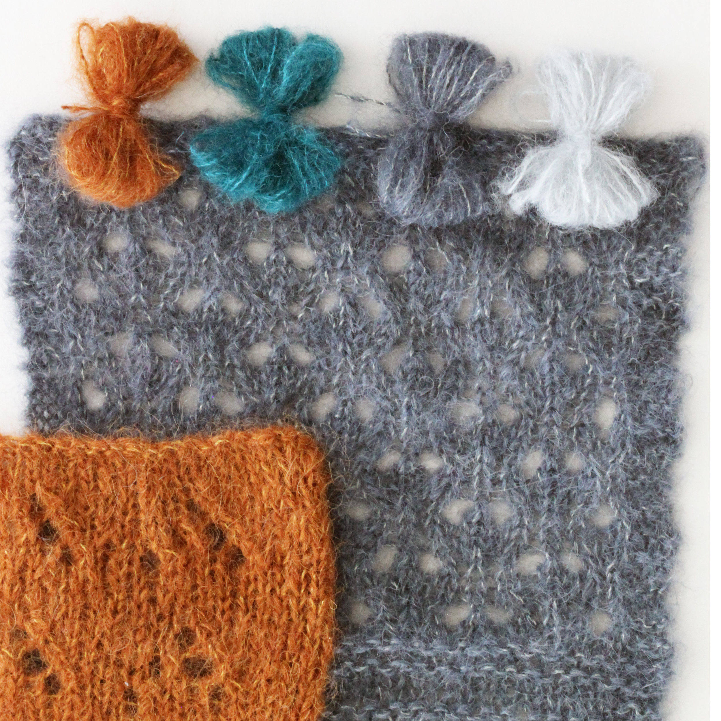 Yarn butterflies shown in (left to right): #902/Rust, #904/Teal, #913/Slate and #911/Silver Swatches shown in: #902/Rust and #913/Slate