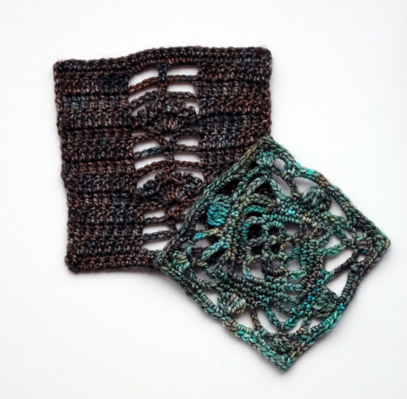 Swatches crocheted in #617/Verdegris and #605/Deep Forest