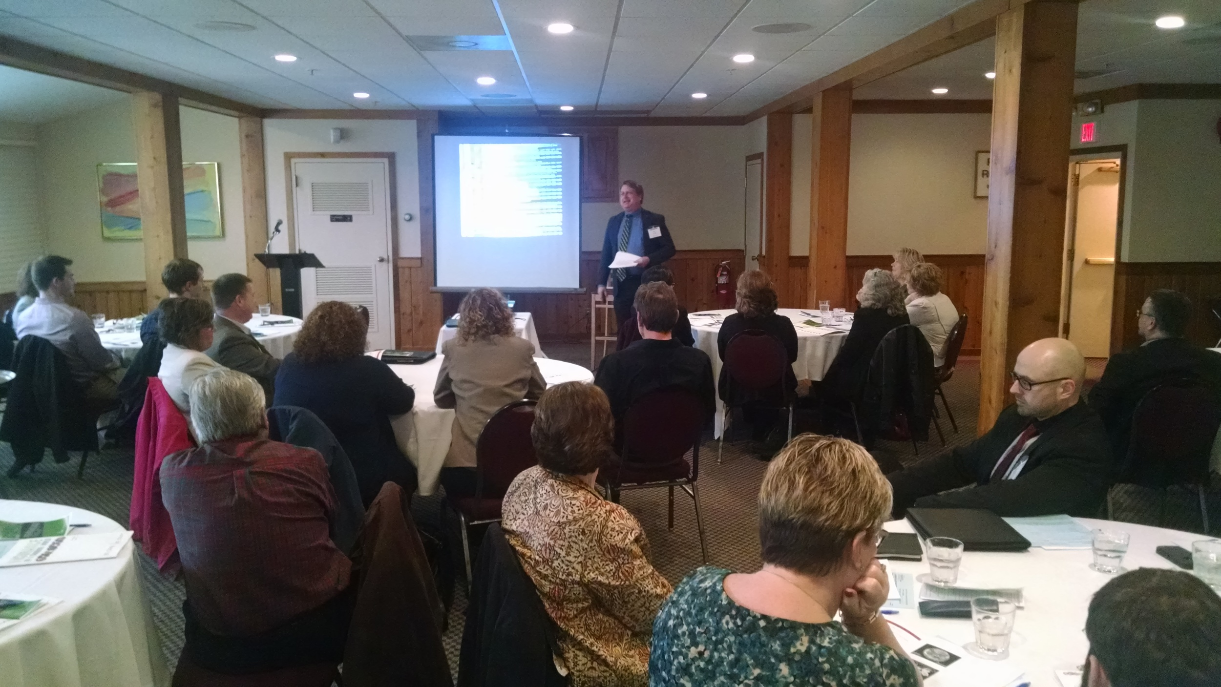 """ABOVE: IIABNY's Tim Dodge presents FREE program to IIACNY Members: """"Insurance in a Changing World."""""""