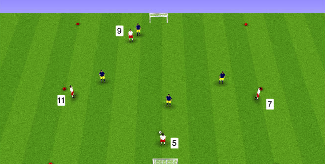 In the game above, the white team's players 7 and 11 give their team width whilst the 5 and 9 give depth, creating a diamond shape.