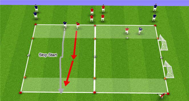 The stop start game can eventually move on to scoring in gates or goals to make it more realistic and competitive.
