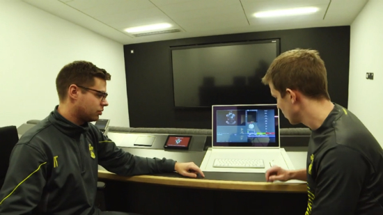 Southampton FC's famous academy in which players are given detailed video feedback on session's and games.