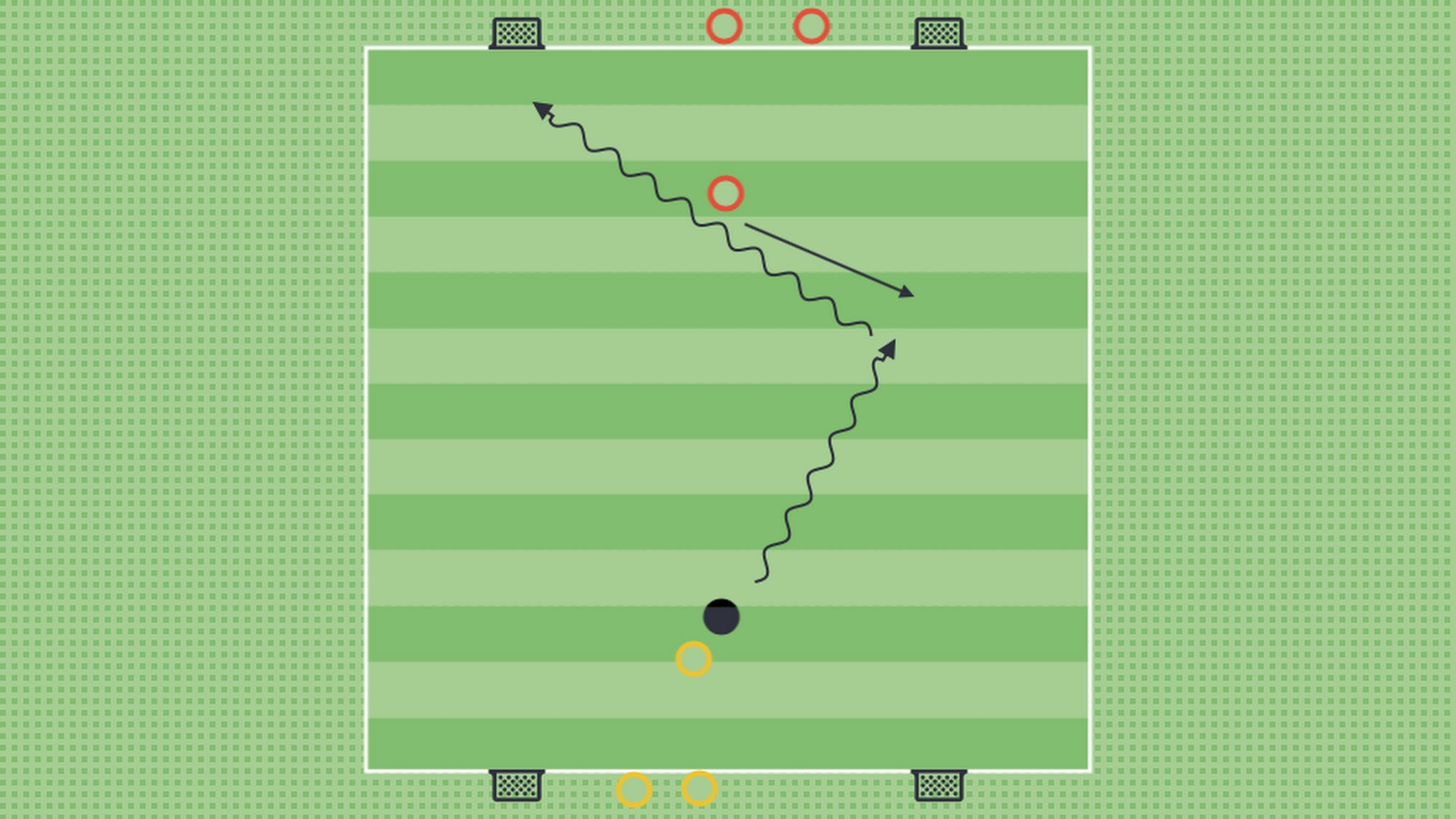 The coach then returns back and shows it with his right foot. (Alternatively, he might do the first demo slowly and the second demo at game speed).