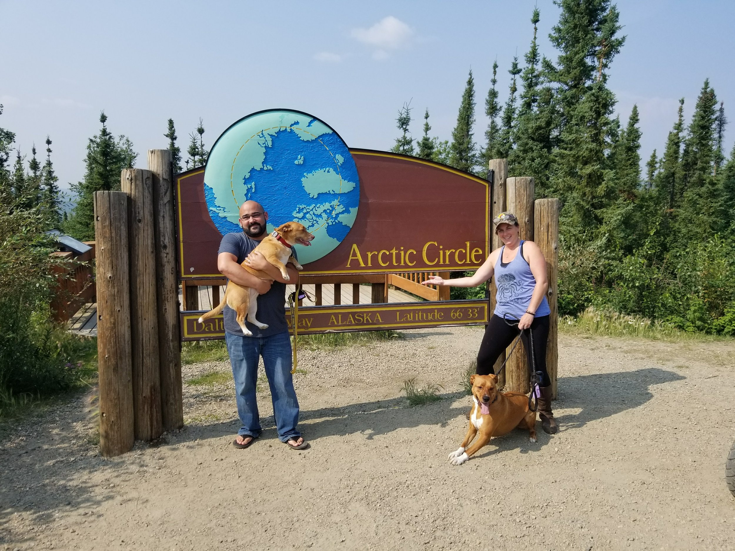 Looks like we made it. The dogs were not into taking a picture too many new smells.