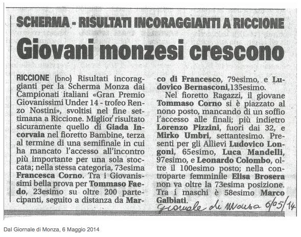 Dal Giornale di Monza, 6/05/2014