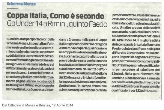 Dal Cittadino di Monza e Brianza, 17/04/2014