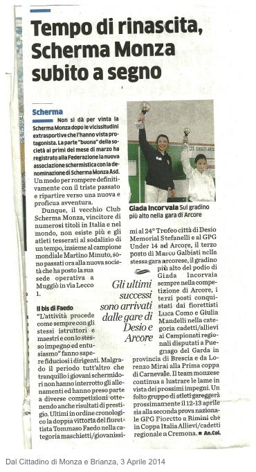 Dal Cittadino di Monza e Brianza, 3 aprile 2014
