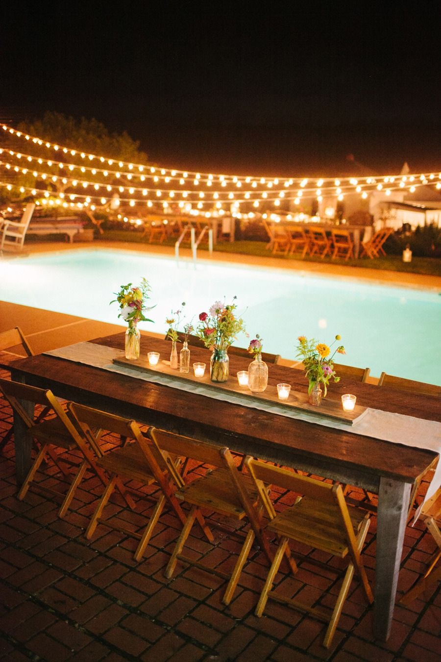 nighttime lights and table arrangement