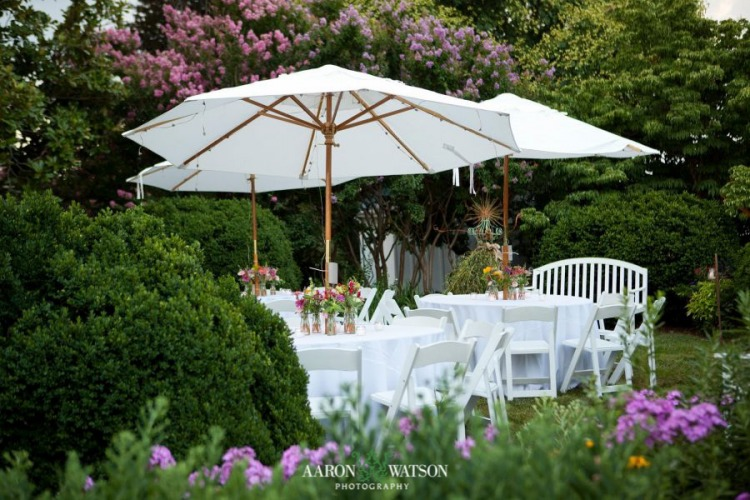 outdoor table setup in garden