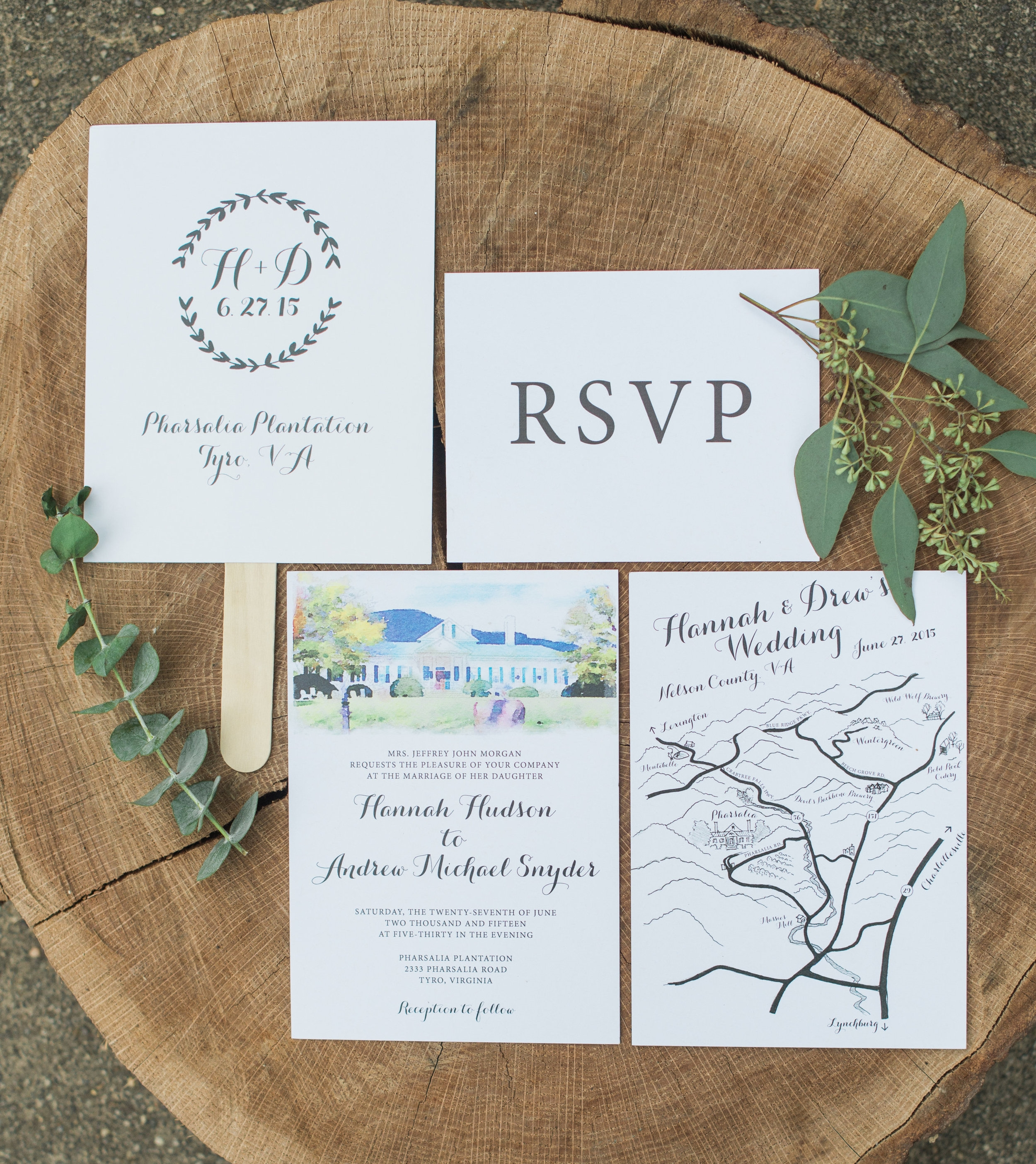 The invitation suite was put together by Hannah's talented brother and sister