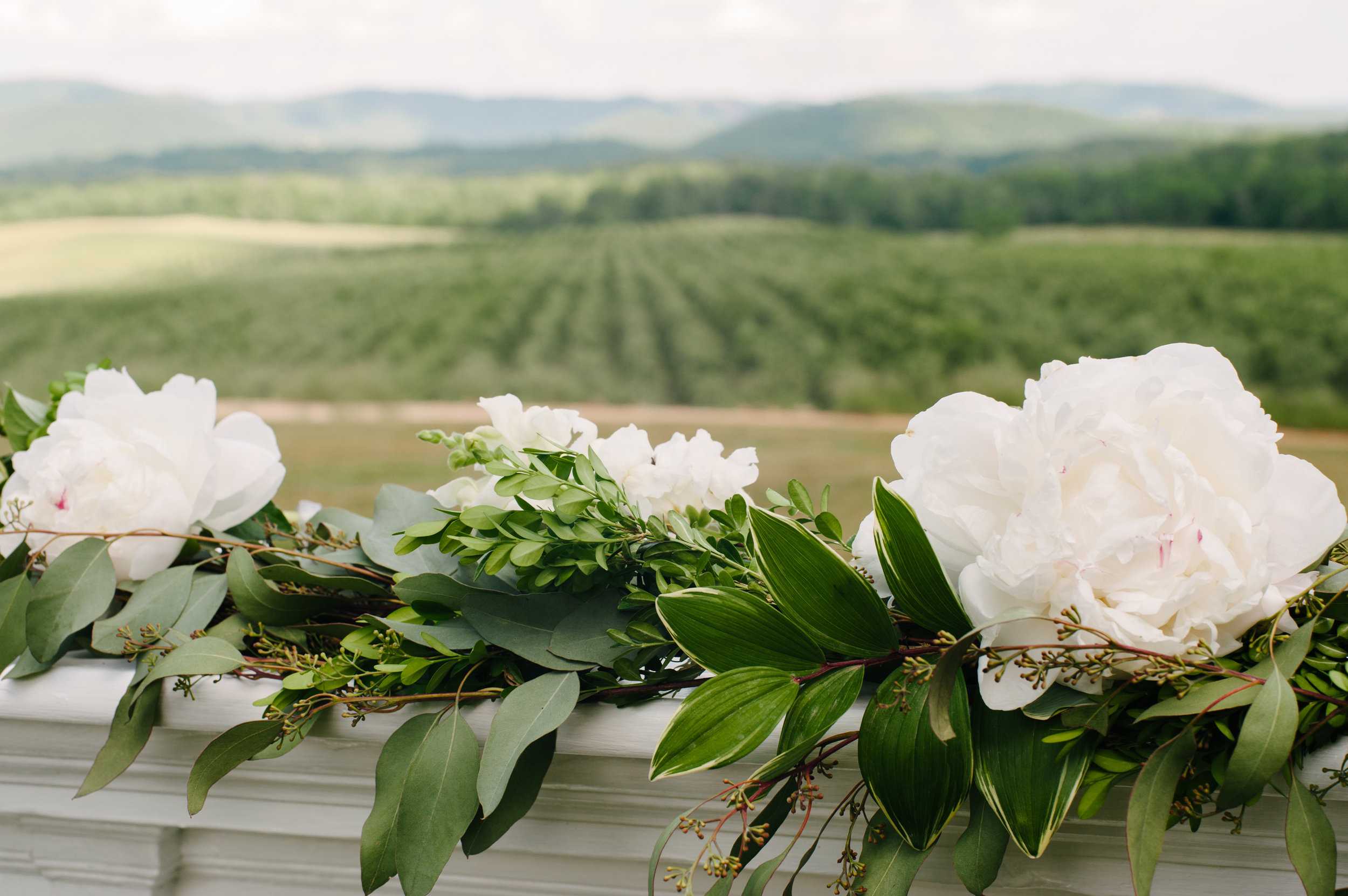 Pharsalia's Peonies in a hand tied swag on the Brides family's mantle for the ceremony.