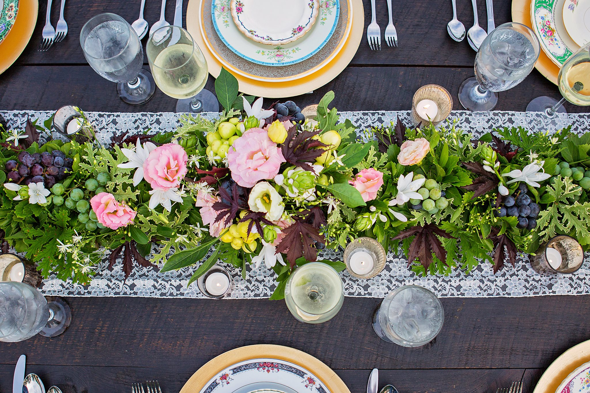 set table with flower arrangement centerpiece