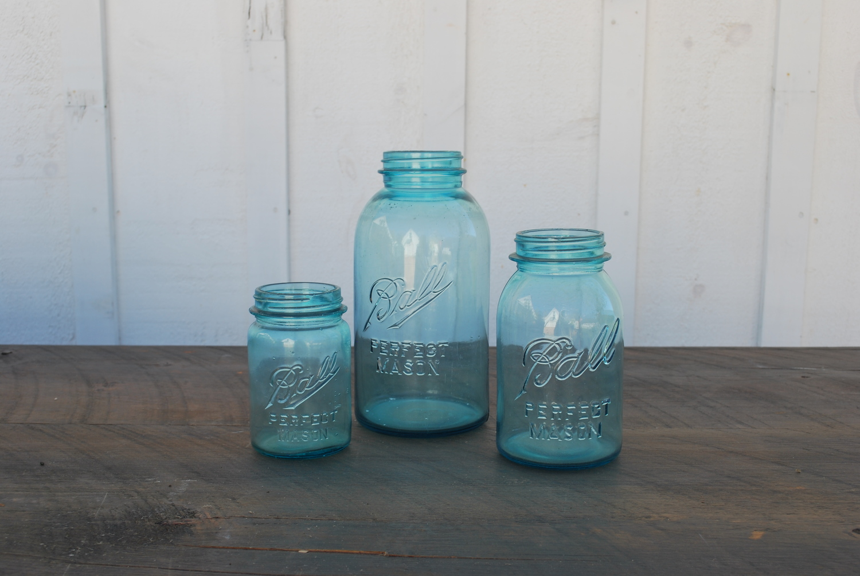Vintage Blue Mason Jars $2 each, plenty available