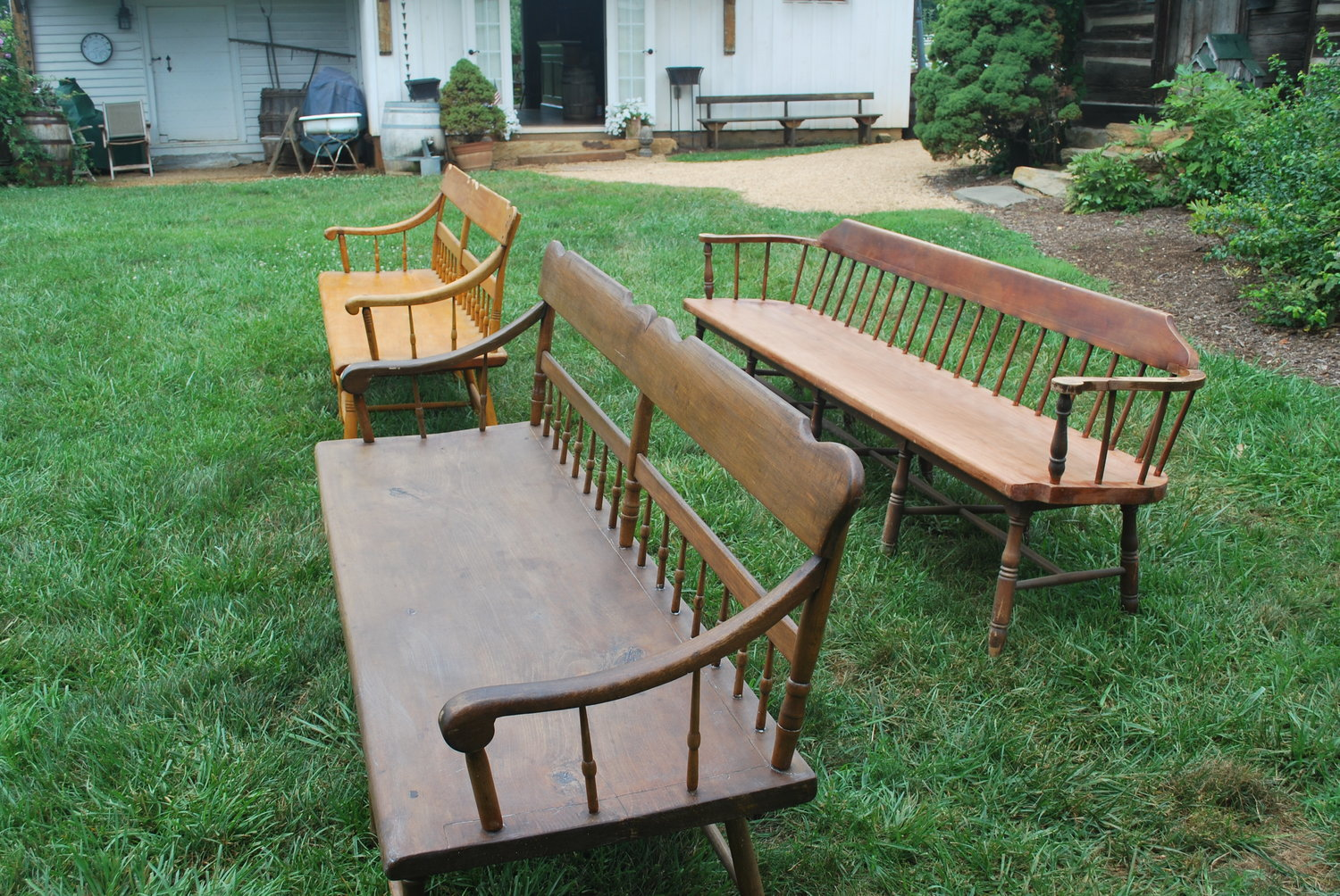Wooden Benches with Backs Three distinct designs. $20 each