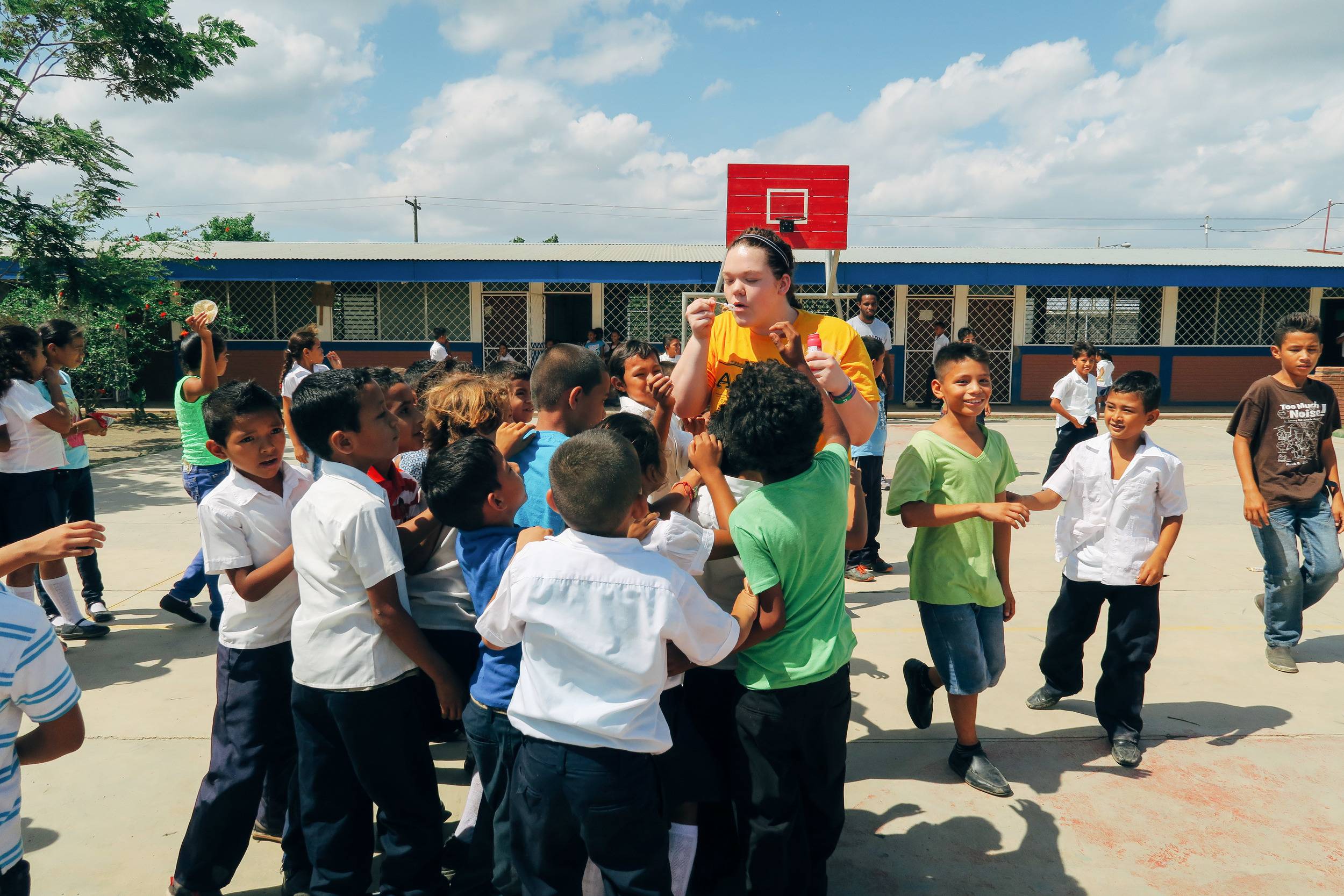 The School here in Tipitapa, Nicaragua. We came to play with them during recess time and boy do they love bubbles.