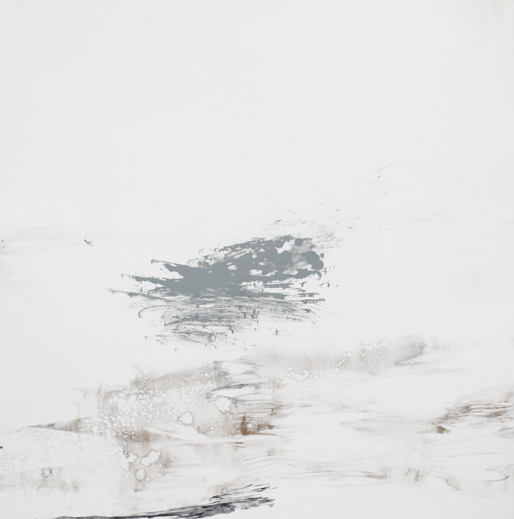 'As flowing water disappears into mist' Mono print 56x54cm Work currently with North Coast Asylum