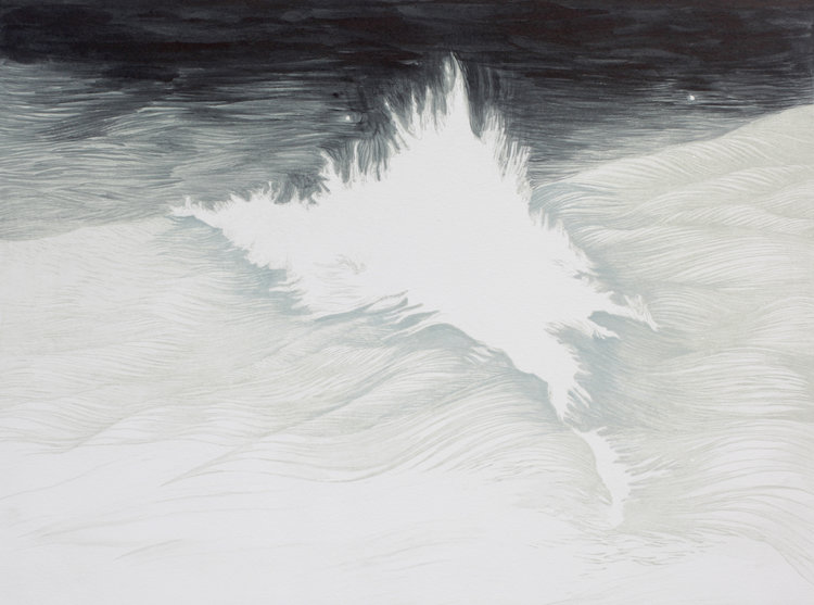 'I took that wave, that wave took me, and took everything from me' Hand painted etching and aquatint on copper 40x30cm  Sold