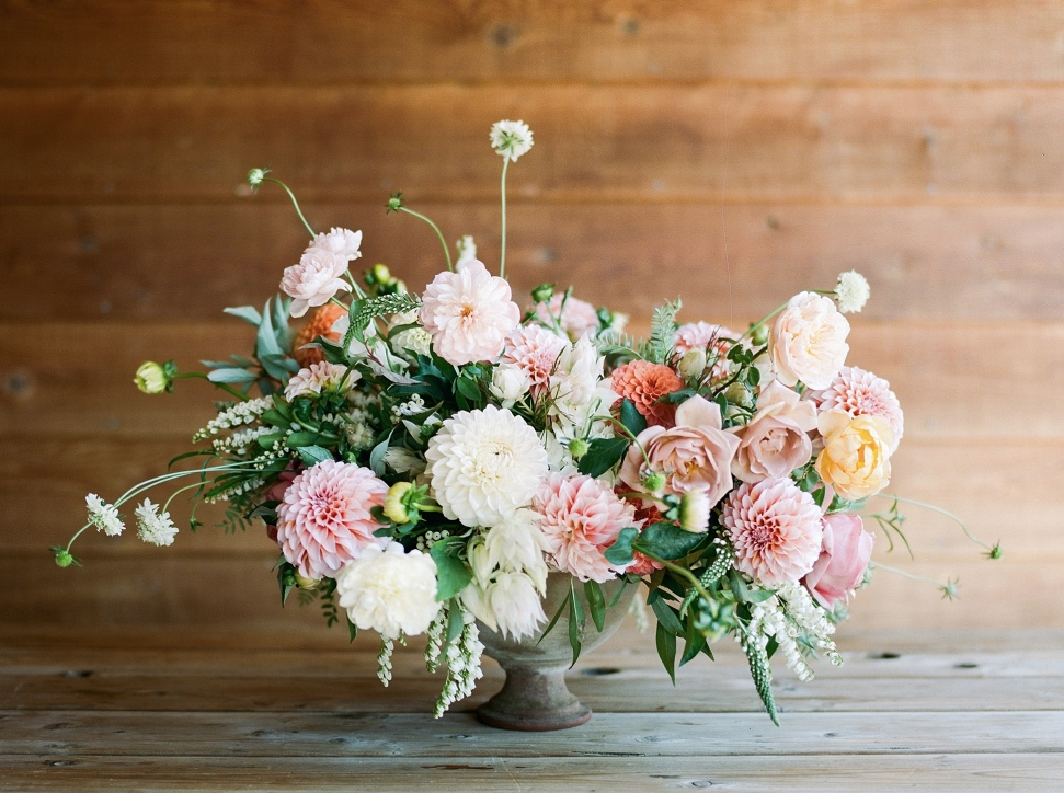 Bows & Arrows Flowers - this compote vase has a completely different vibe and beauty about it. we absolutely love all the pinks and lush greens. it's so pretty for a spring soirée with tons of rosé (counting down the days until winter is over!)