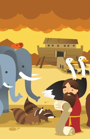 Noé mete a las parejas de animales en el arca