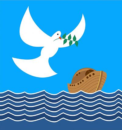 Noé envía a una paloma fuera del arca