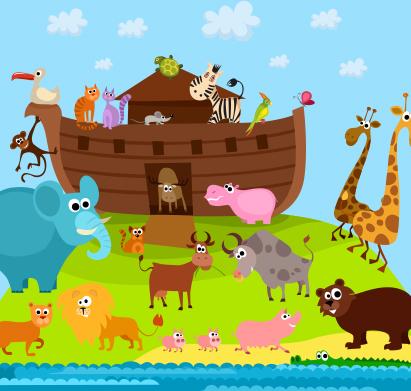 Los animales salen del arca después del Diluvio