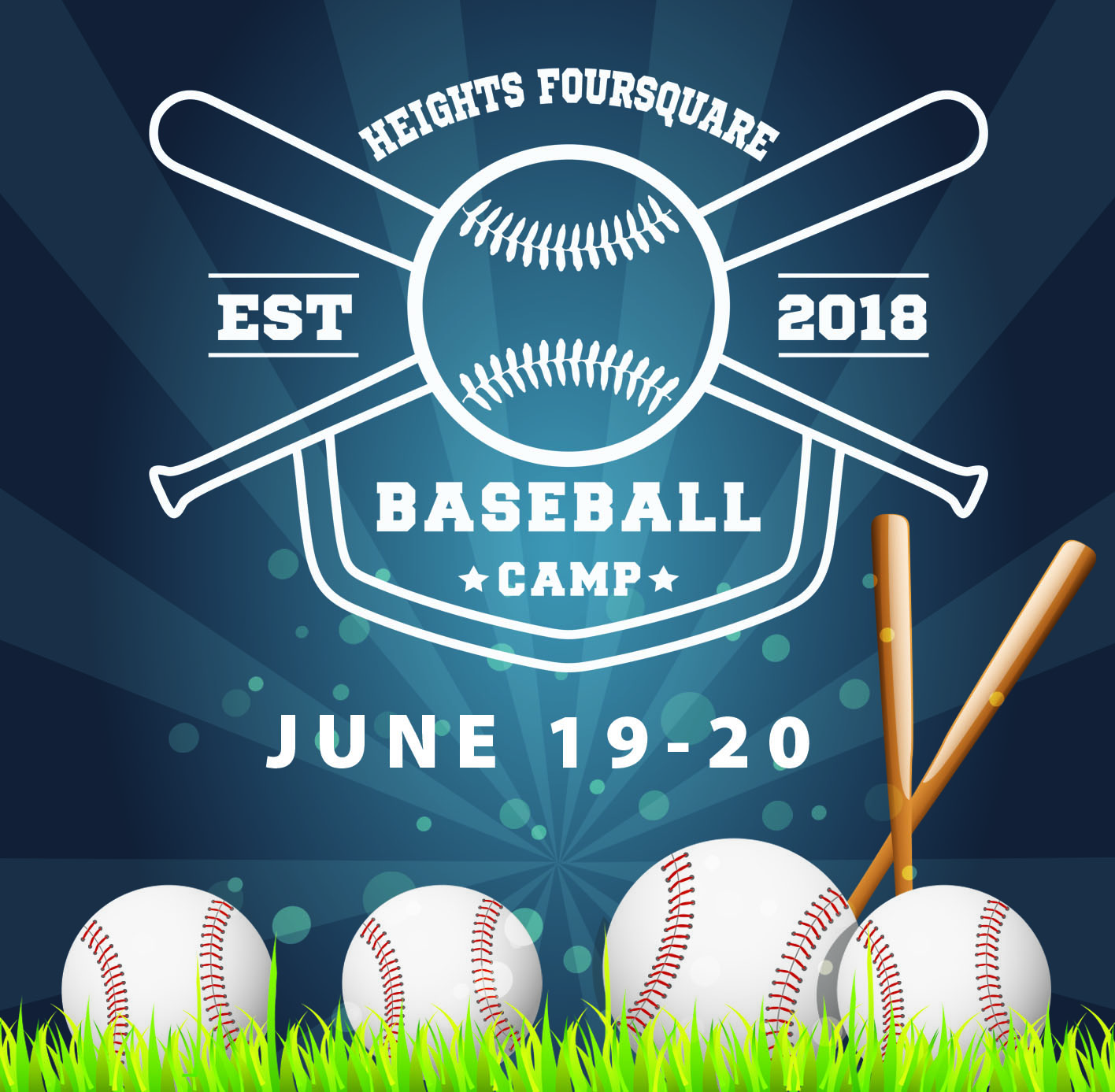 Baseball Camp - Kids ages 7-12 are invited to participate in baseball camp. They will learn to catch, hit, throw, and run bases, all while hearing about Jesus. Click here for more information and to get signed up!