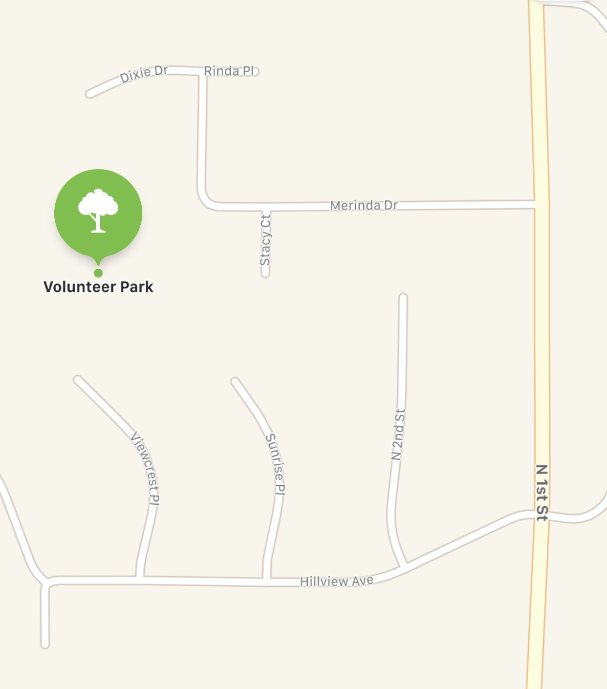 Directions: - Driving North on 1st St. in Selah-Turn left on Merinda Dr.-Continue straight until the road turns to the right.-Volunteer Park Parking Lot will be on your left.