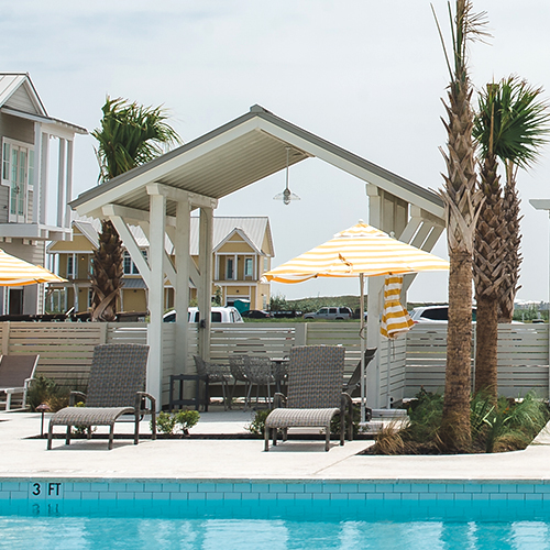 Architectural poolside cabanas