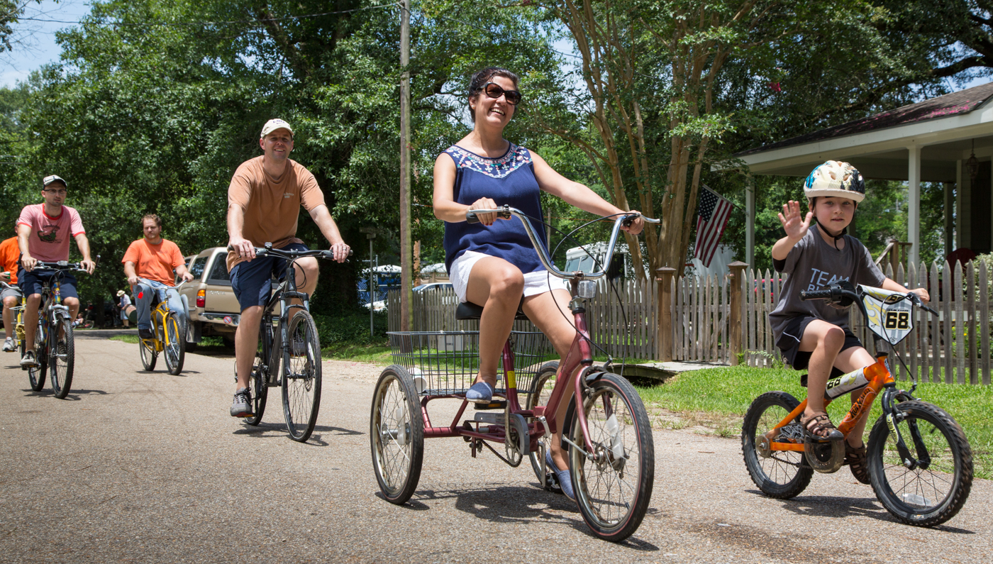 The Mendow family joins the annual ride during the 2015 Louisiana Bicycle Festival