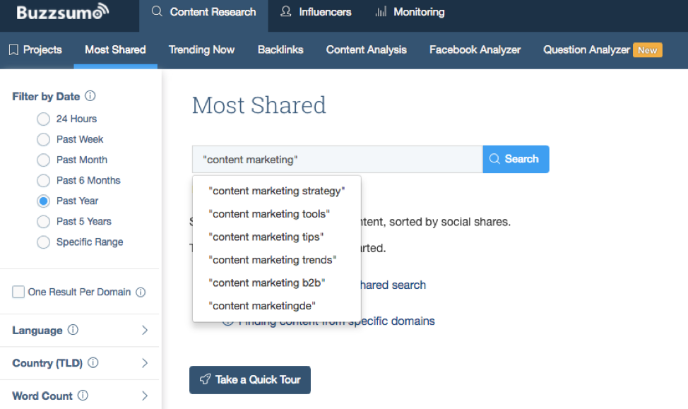 Identify which content is working well with BuzzSumo