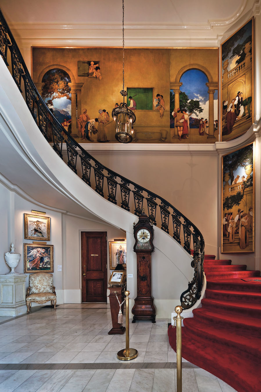 """The """"Romance Staircase"""" in the Marble Hall of the NMAI, modeled after the  Petit Trianon  (1762) at Versailles.  © 2016 National Museum of American Illustration, Newport, RI. www.AmericanIllustration.org ."""