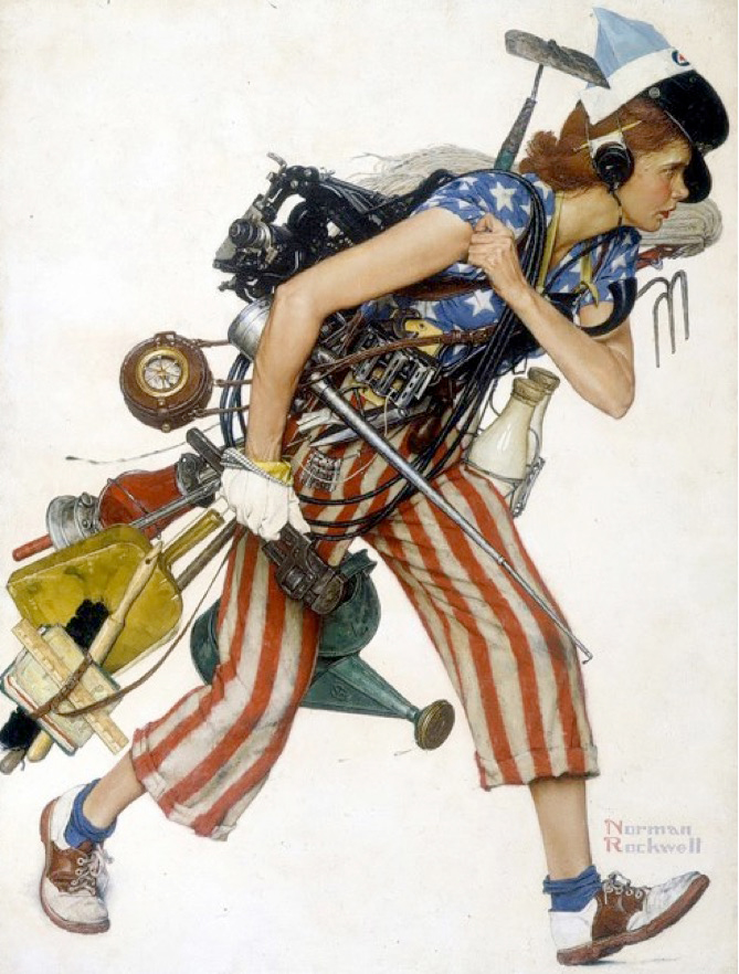MISS LIBERTY by Norman Rockwell (1943). Oil on canvas. Saturday Evening Post cover for September 4, 1943. © 2016 National Museum of American Illustration, Newport, RI. www.AmericanIllustration.org .