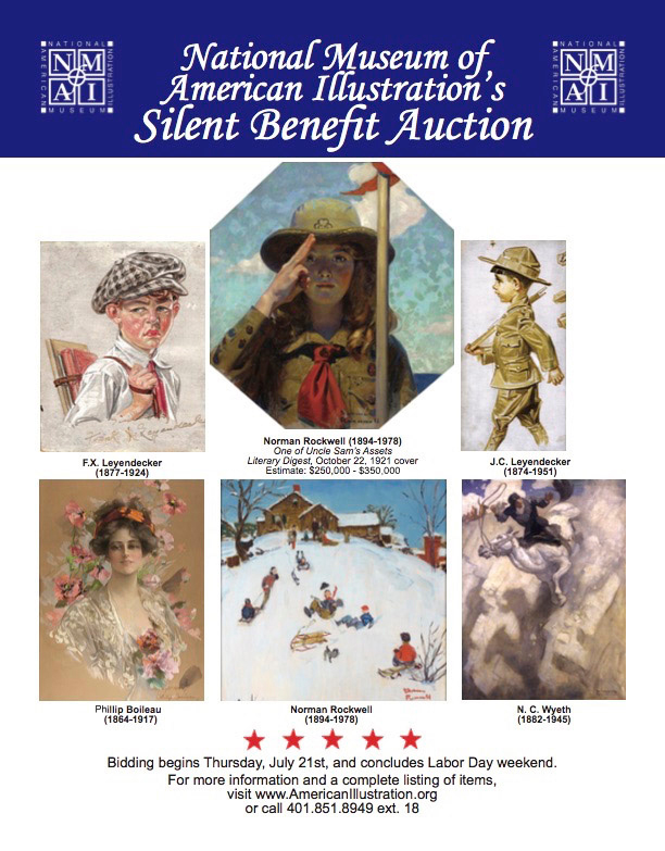 The NMAI will begin accepting bids for the 2016 Annual Silent Benefit Auction on July 21st. Bidding concludes on Labor Day.   © 2016 National Museum of American Illustration, Newport, RI. www.AmericanIllustration.org .