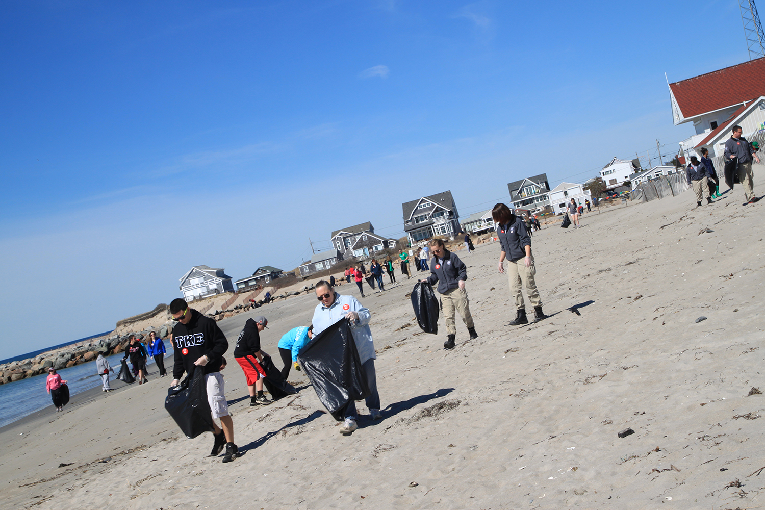 Dozens of volunteers helped Save The Bay pick up trash and litter at Salty Brine Beach in Narragansett during International Coastal Cleanup Day.