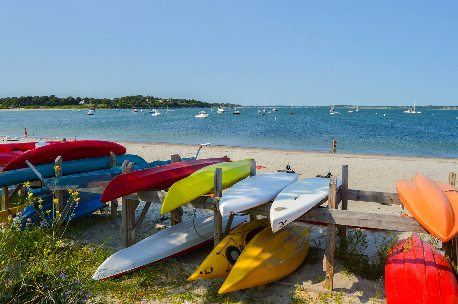 Kayaks at Third Beach, photo courtesy of Discover Newport