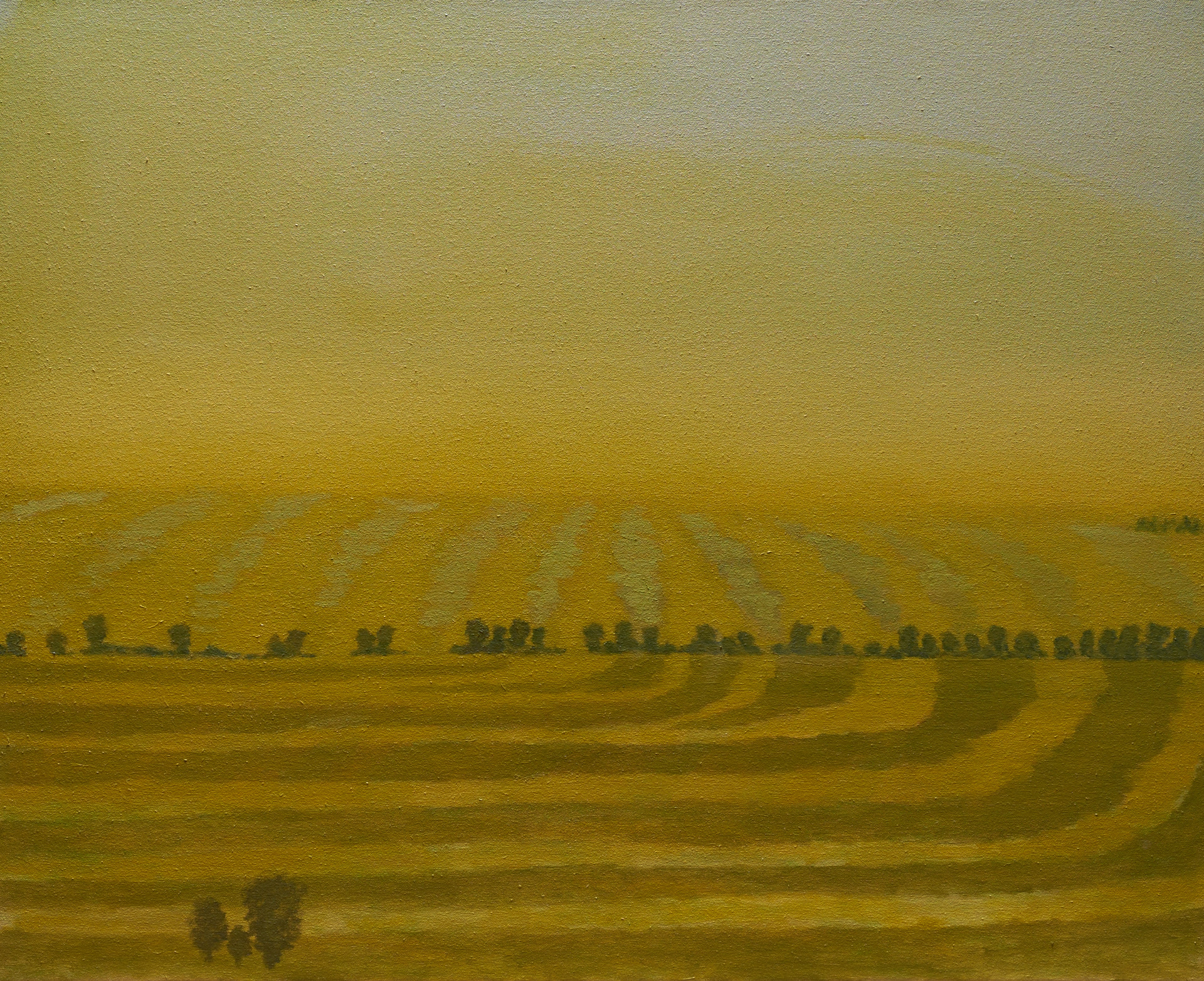 """Hayfields at Sunset"""