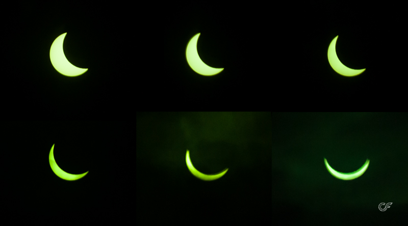 The solar phases, through a welding mask