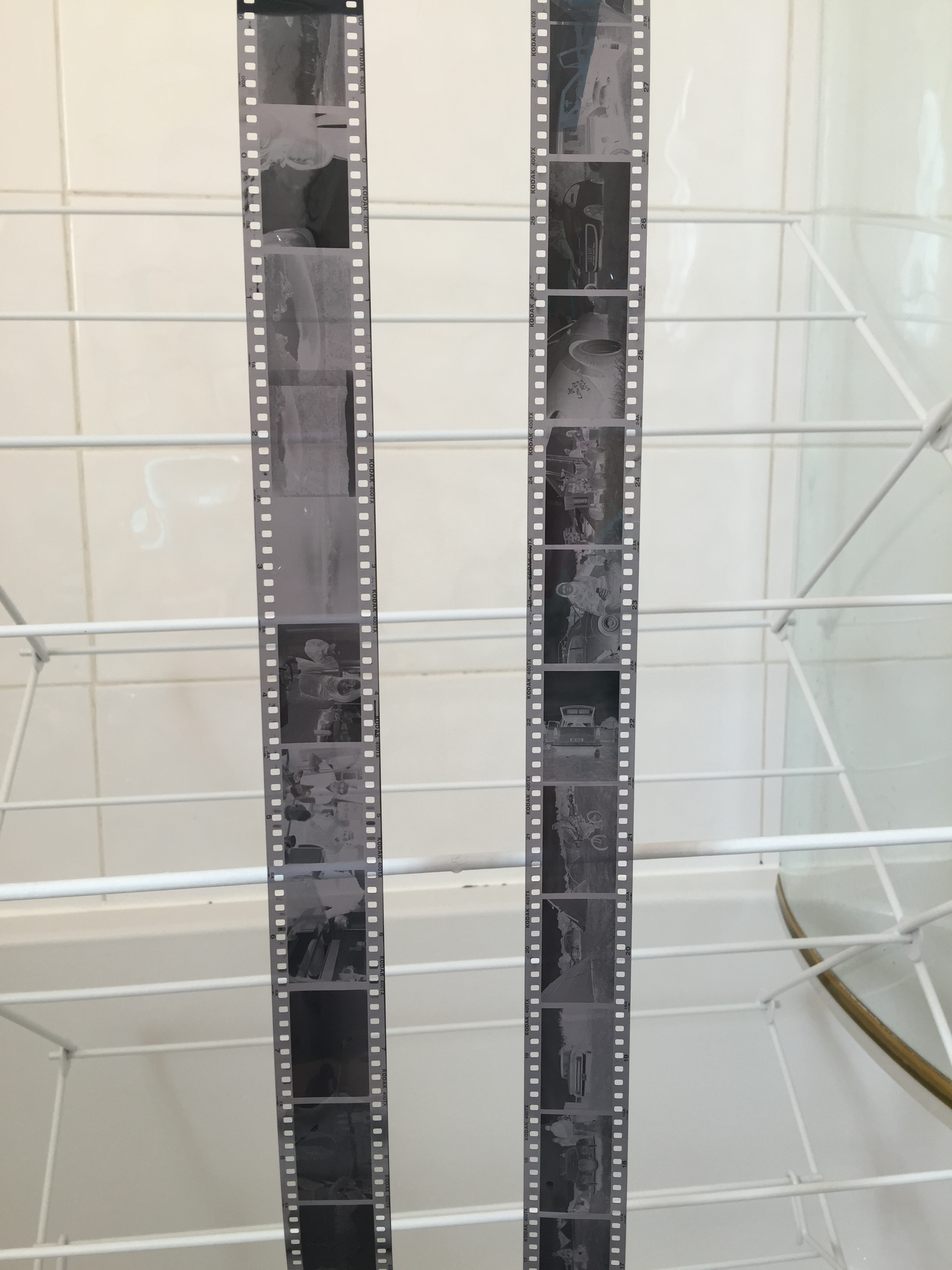 The developed film hang drying