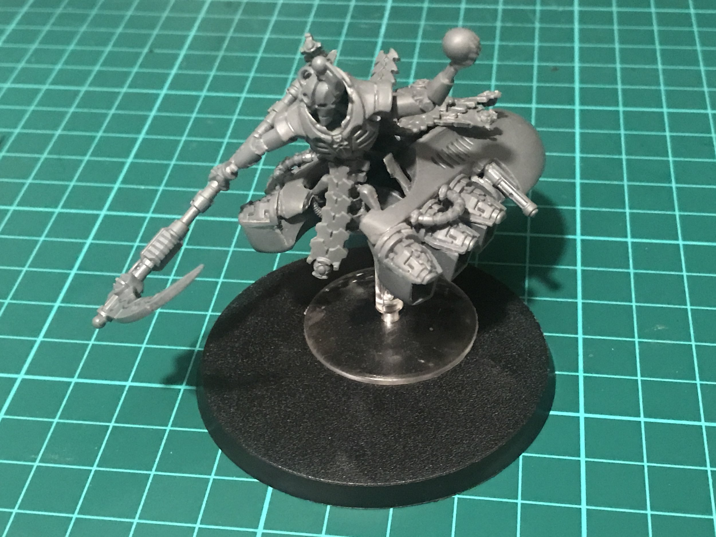 Placed on his 60mm base to check for size