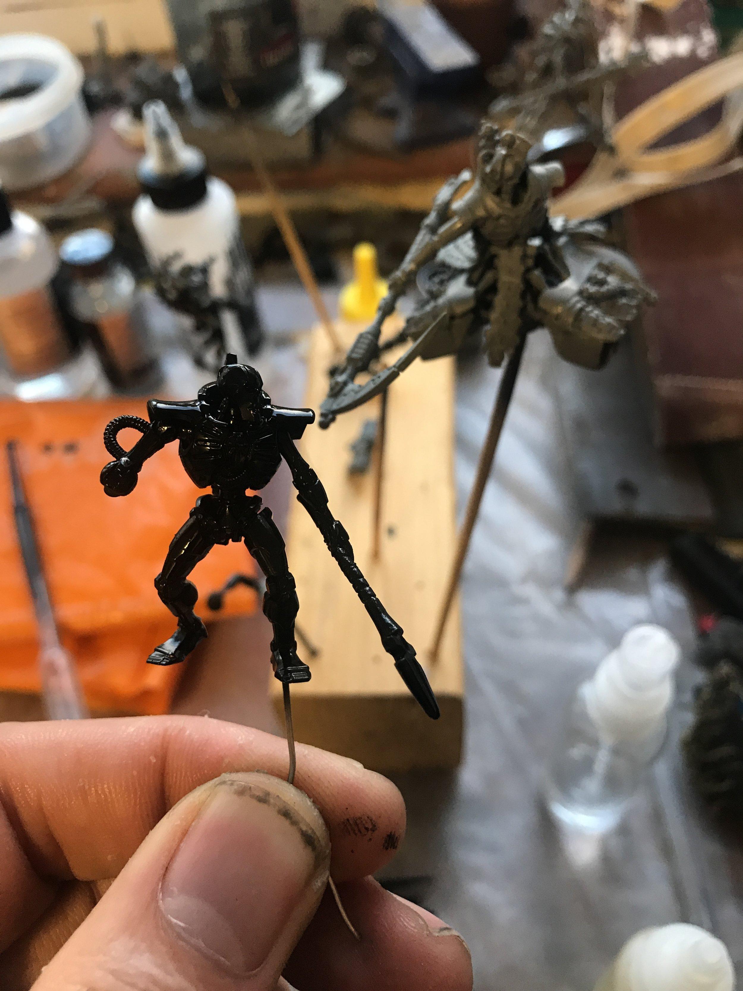 The Immortal Chosen having its first coat of gloss black primer