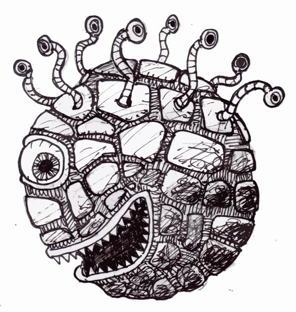 """""""The beholder (eye tyrant, sphere of many eyes) is most frequently found underground, although it infrequently will alir in deslate wildnernesses."""" -AD&D Monster Manual"""