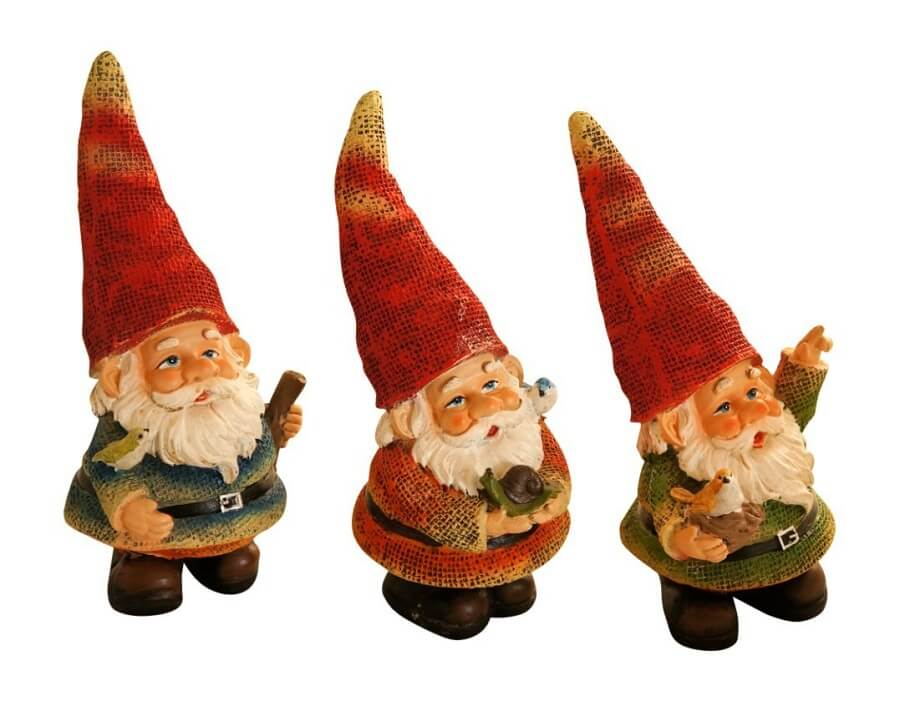 """At the center of the widow's half-acre of neatly mowed front lawn, three stone gnomes gathered like they were fishing."""