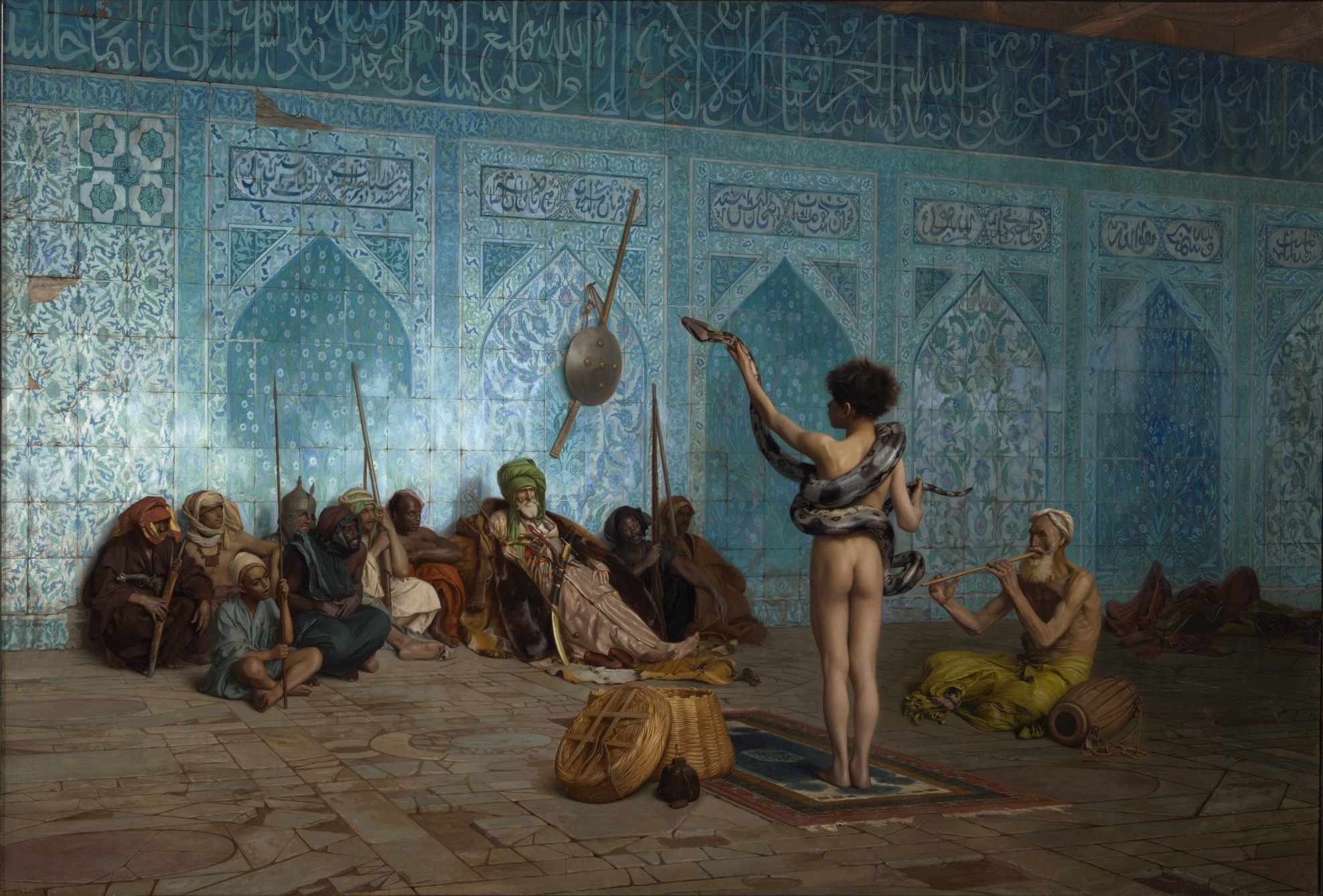 """Jean-Léon Gérôme, The Snake Charmer, c. 1879, Oil on canvas. ( Sterling Francine Clark Art Institute , Williamstown, Massachusetts.)"""
