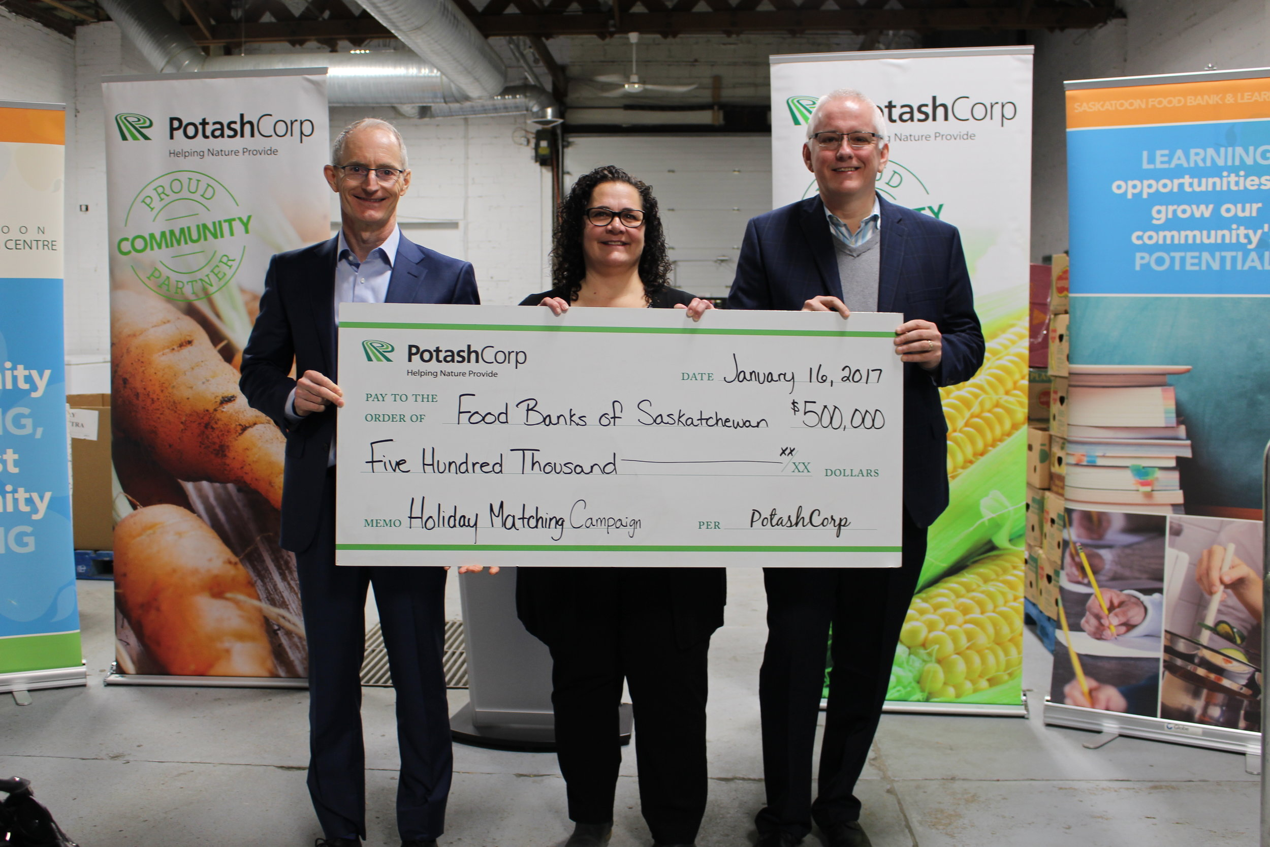 (Left to right) Jochen Tilk  President and CEO of Potash Corp , Laurie O'Connor  Executive Director of SFBLC  and Steve Compton  Executive Director of Food Banks of Saskatchewan.